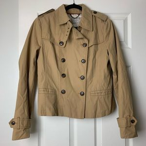 Banana Republic tan crop trench peacoat M
